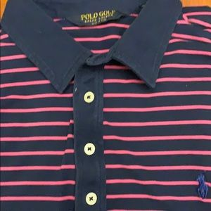 Pink and dark blue pro fit polo golf shirt